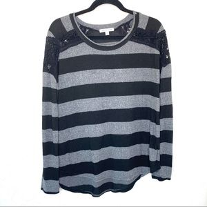DownEast Black and Gray Striped Long Sleeve